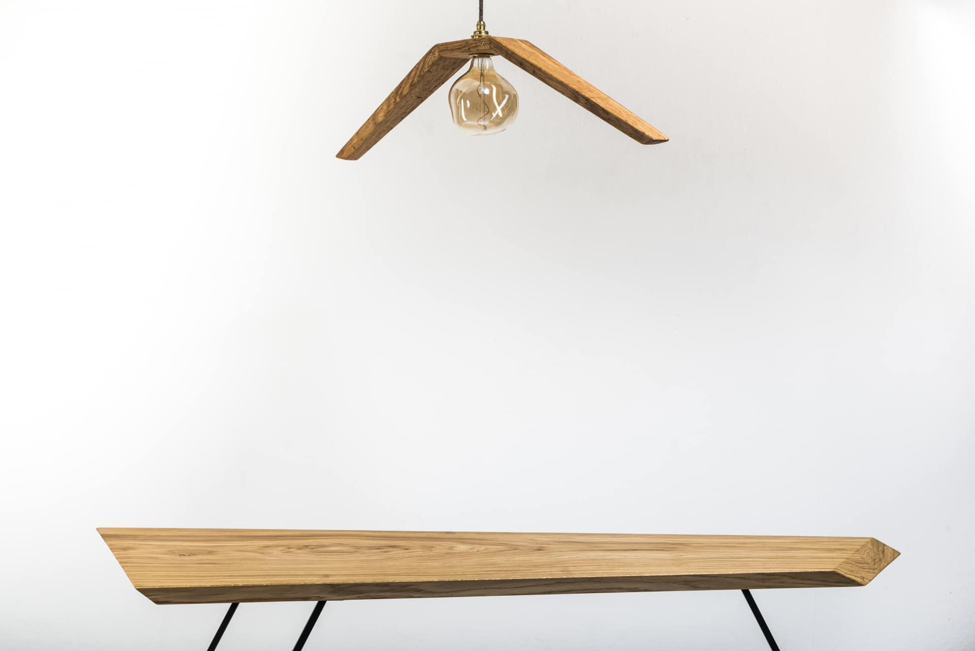 Hängeleuchte – Möwe – Verschnitt – Eichenholz – Produktansicht