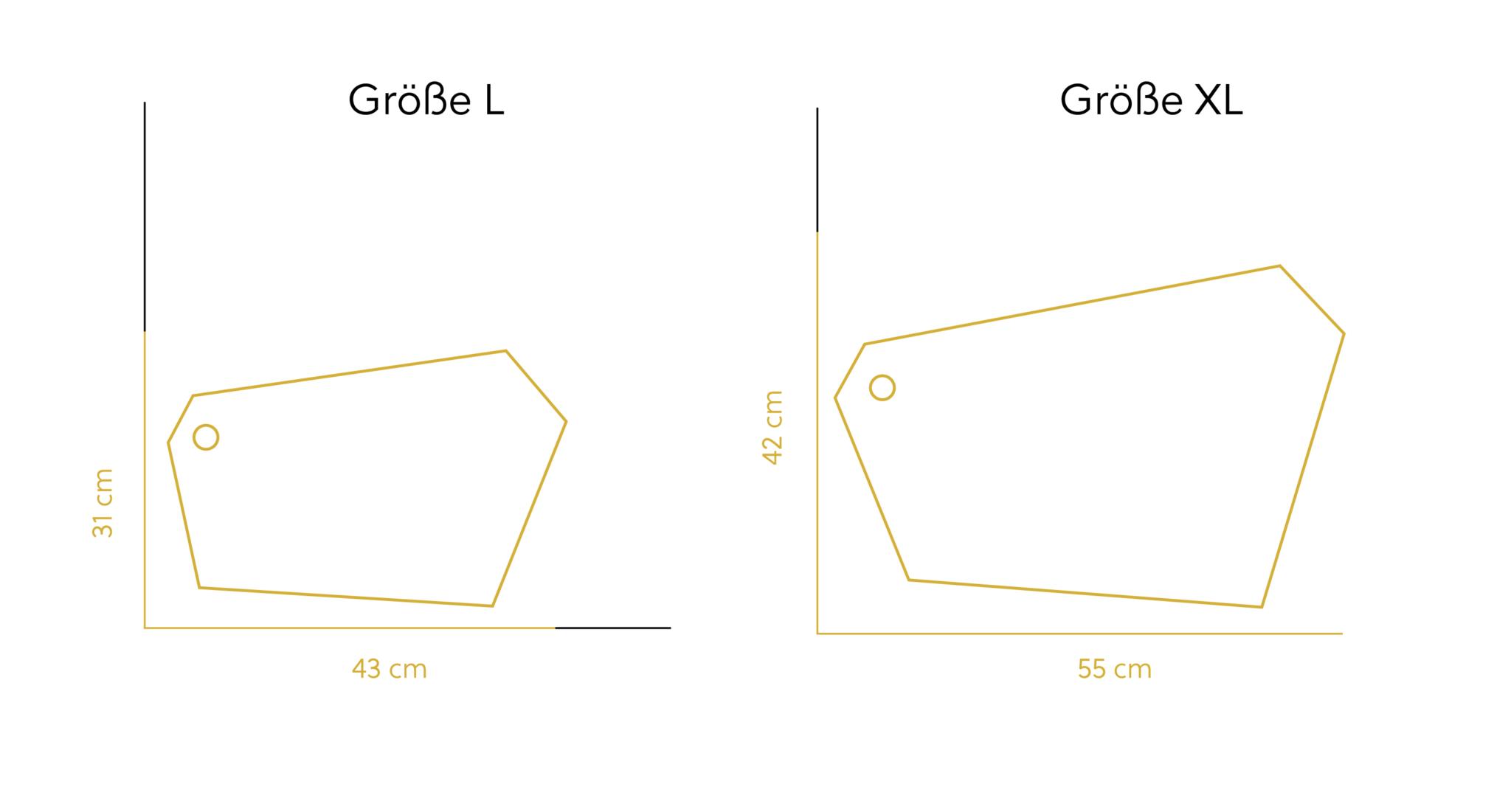Verschnitt Brettchen Größenangaben für die Brettchen L und XL